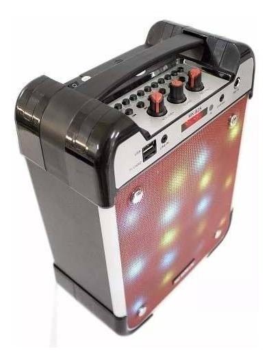 Caixa Som Amplificada Led Portatil Mk-b25 Mp3 Fm Usb Sd
