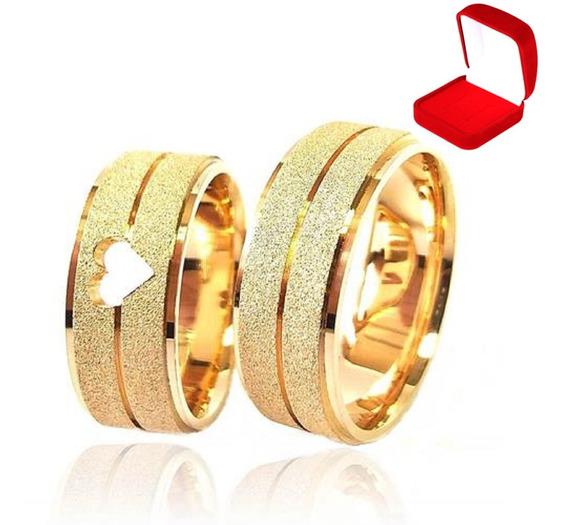 Alianças Casamento Banhada Ouro 18k Tradicional Noivado Anel