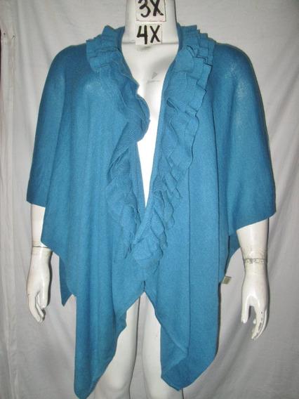 Capa Poncho Cardigan Azul Acero Y Olanes Plus 3x - 4x Ameri