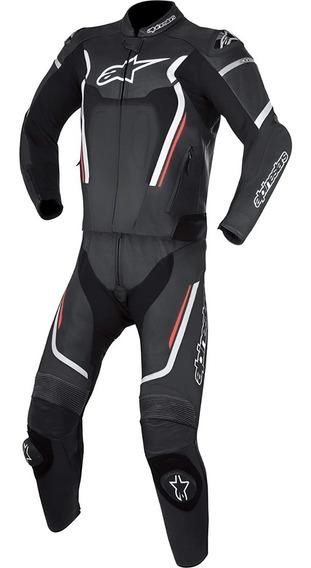 Traje Piel Moto Alpinestars Motegi V2 Negro Blanco 2pzas