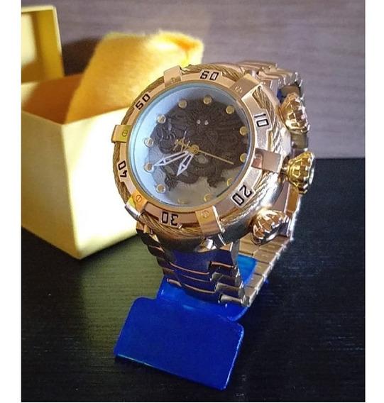 Relogio Dourado Masculino Luxo Ouro Ostentação Oferta