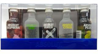 Vodka Absolut 5 Botellas C/estuche Y Recetario Envio Gratis