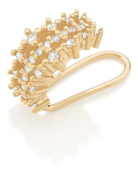 Brinco Piercing Pressão Fake Banhado Ouro Rommanel 526288
