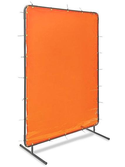 Pantalla De Acero Con Cortina Naranja Para Soldadura 182x121