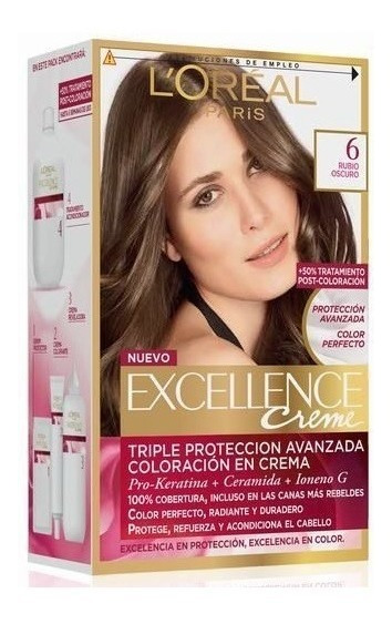 Kit Tintura Excellence Creme Loreal Color 6 Rubio Oscuro