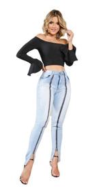Calça Jeans Feminina Ziper Na Frete Modelo Levanta Bumbum