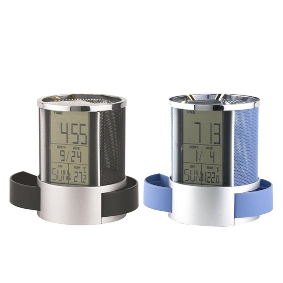 Titular Lápis Caneta Com Lcd Digital Alarm Relógio Termômetr