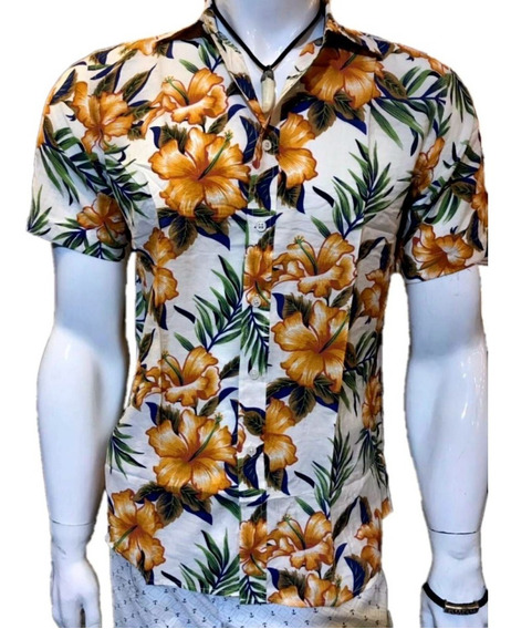 Camisa Masculina Kit10 Estampa Viscose Manga Curto Moda