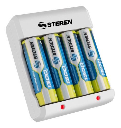 Cargador De Baterías Aa/aaa Steren Con 4 Pilas Aa Recargable