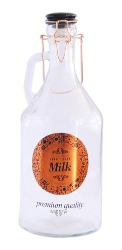Jarra Botellon De Vidrio Gancho Cobre Y Logo Milk Vintage