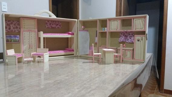 Maleta Casa Da Barbie De Madeira Com Beliche