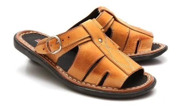 Sandália Chinelo Masculina Couro Confortável Muito Barato