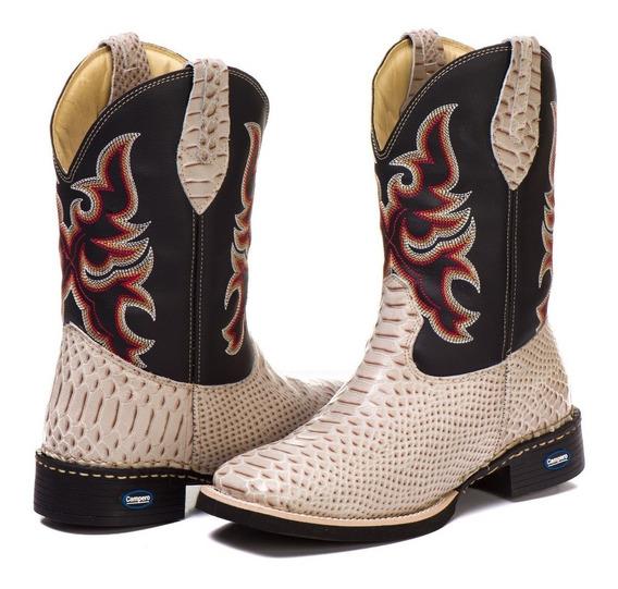 Bota Country Texana Bico Quadrado Anaconda Couro Nobre