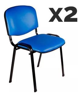 Pack X 2 Silla Fija Tapizada Apilable