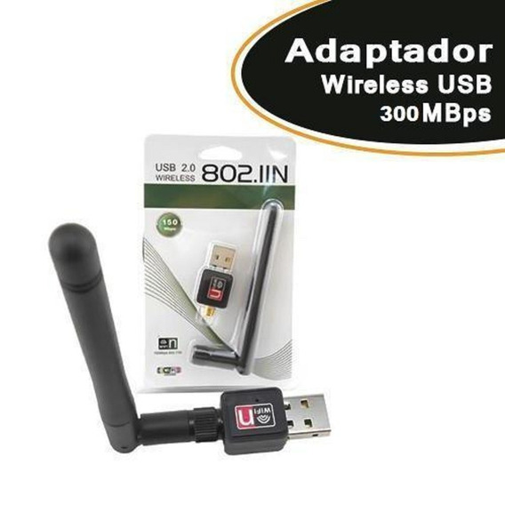 Adaptador Wireless Usb 300mbps C/ Antena 7dbi
