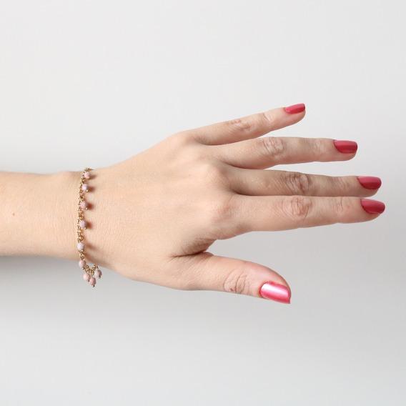 Pulseira Folheada Ouro 18k Berloque Rosa Pastel Marmorizado