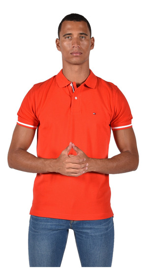 Tommy Hilfiger Polo Para Hombre Rojo Mod Mw0mw10768-658
