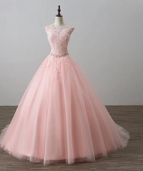 Vestido De Xv Años Rosa Perla Tallas Grande Alq-190712002