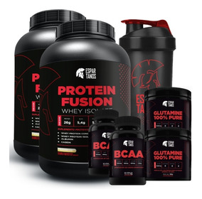 Combo Duplo Whey Fusion + 2x Bcaa + 2x Glutamina + Shaker