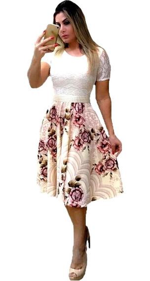 Vestido Midi Rodado Princesa Festa Casamento Civil #vlm726