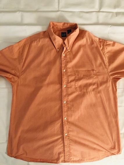 Camisa Gap Original Usada Cuadros Color Melón Talla Xl