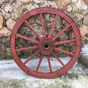 Roda De Carreta Antiga Madeira Galpão Carroça Média 348
