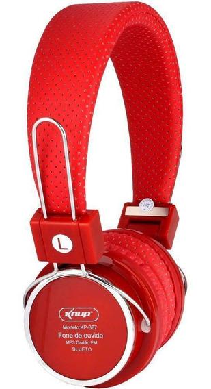 Fone De Ouvido Headphone Bluetooth 3.0 Sd P2 Fm Vermelho