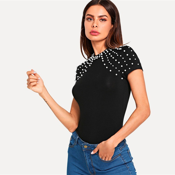 Polo Blusa Mujer De Algodon Con Aplique De Perlas