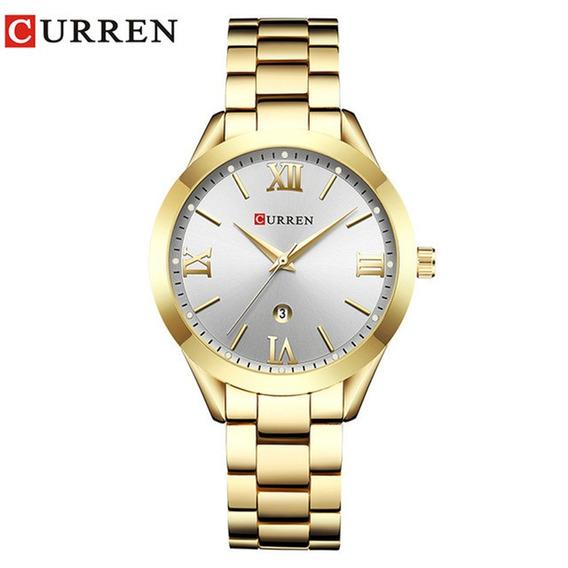 Relógio De Pulso Feminino Quartzo De Aço Inoxidável Curren