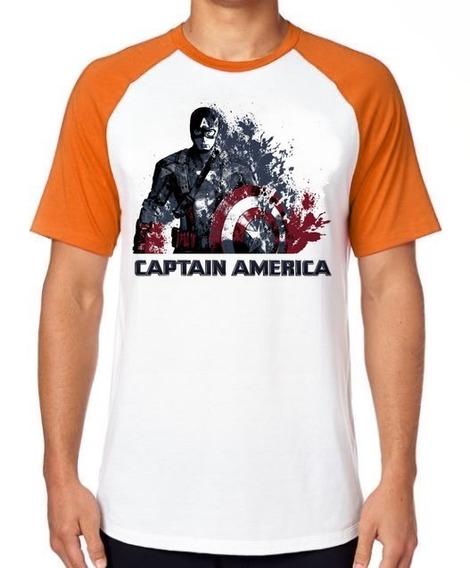 Camiseta Luxo Capitão América Desintegrando Marvel Vingadore