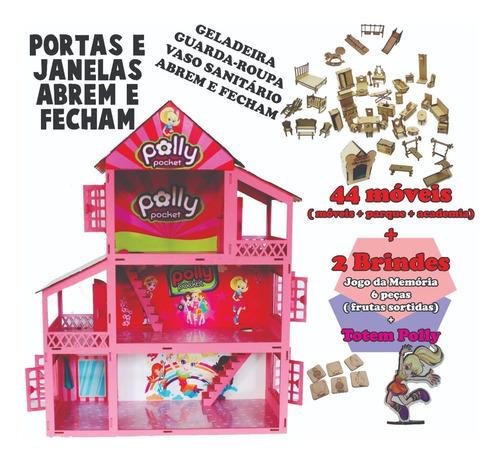 Casinha P/ Boneca Anime Polly Poli Poly 44 Móveis + Nome