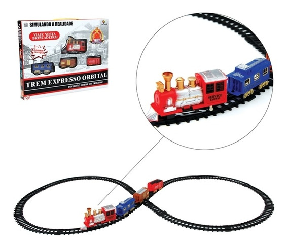 Ferrorama Orbital 19pçs Classic Train Completo Trilhos Vagao
