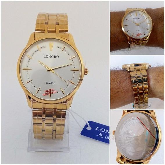 Relógio Masculino Longbo 80311g Original Dourado Folheado A Ouro Social Vip 12x Sem Juros Frete Gratis