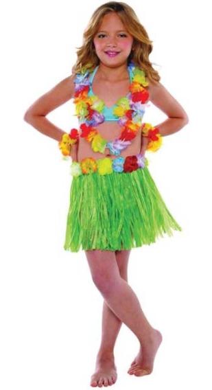 Roupa Kit Havaiana Infantil Feminino Com Colar P/ Entrega