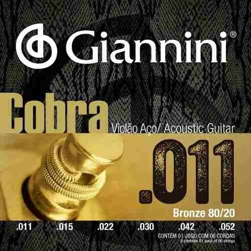 Encordoamento Giannini Violão Super Light 011 80/20 Full