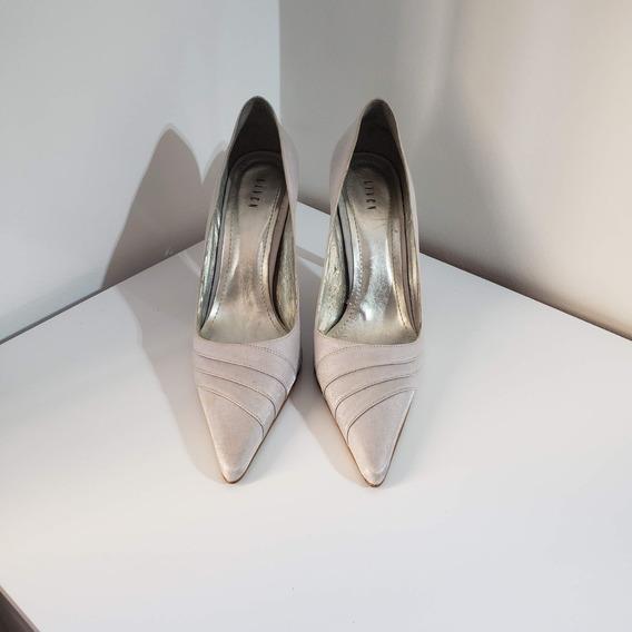 Sapato Prata Para Festa, Bico Fino, Salto 10cm