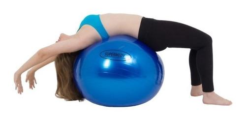 Bola Para Ginástica 65cm Azul Supermedy + Nf