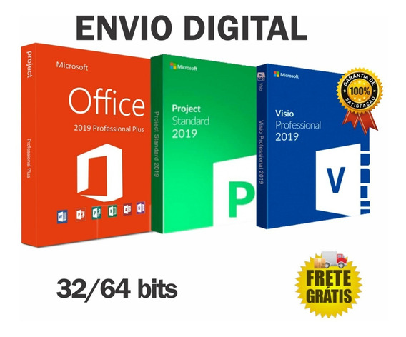 Office Pro Plus 2019 + Project E Visio Envio Digital