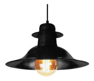 Lampara Colgante Sombrero Negro Vintage A/ Led Ferrolux