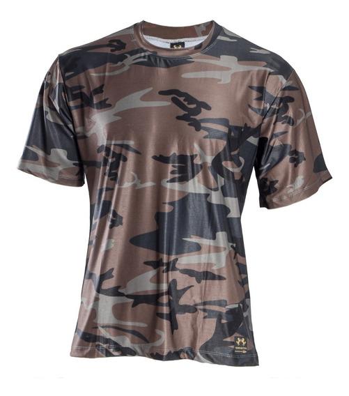 Camisa Camuflada Marrom E Preto Manga Curta Proteção Uv 50+