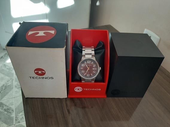 Relógio Technos Masculino Redondo Todo De Aço. Modelo 2115ga