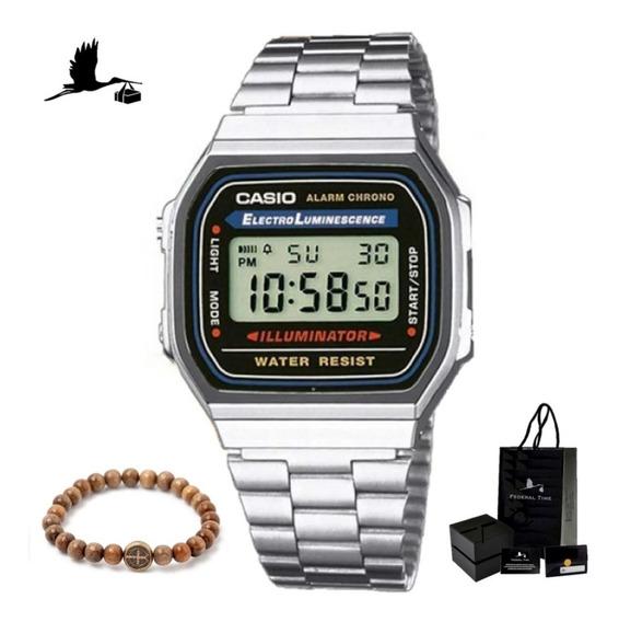 Relógio Casio Moda Vintage Prata A168wa Original C/ Garantia
