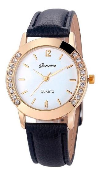 Relógio Geneva Dourado Feminino Com Strass
