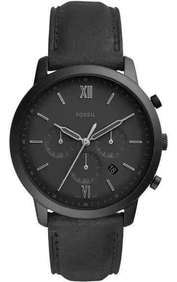 Relógio Fossil Masculino Chrono Fs5503/0pn 44mm Couro Preto