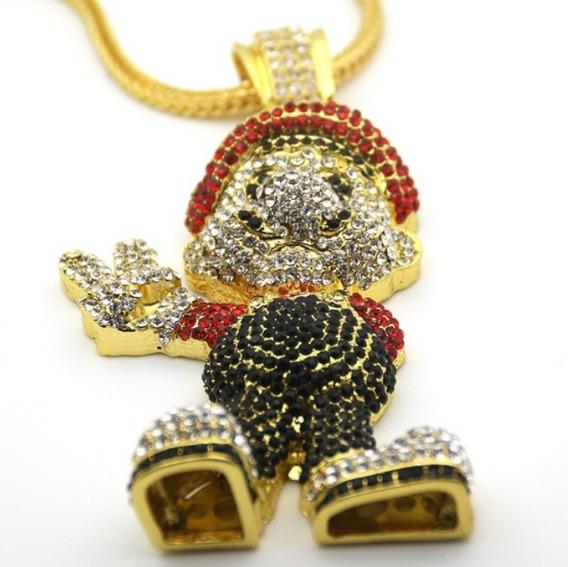 Colar Marios Game Pingente Cor Ouro Grande 6ix9ine Hip Hop