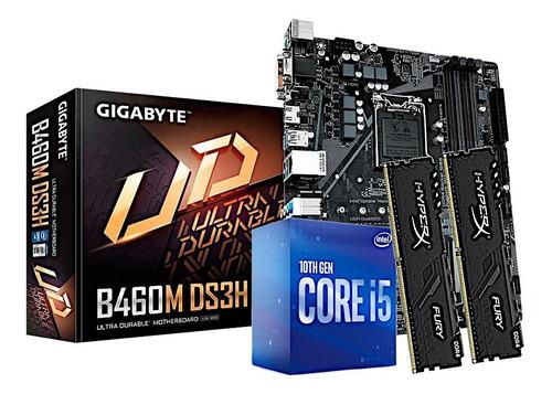 Imagem 1 de 1 de Kit Processador Core I5 10400f Gigabyte B460m-ds3h Hx 2x8gb