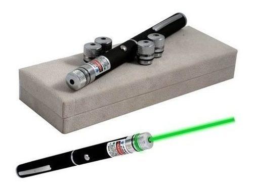 Apontador Caneta A Laser Verde 1000mw Com 5 Pontas