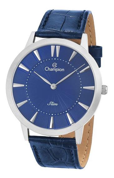 Relogio Masculino Prata Slim Couro Azul Champion Ca21740a