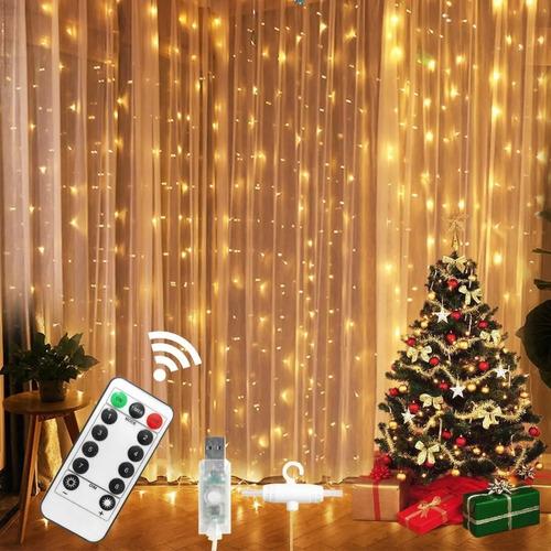 Imagen 1 de 8 de Cortinas Decorativas Luz Led Control Remoto 3x3m 300 Leds