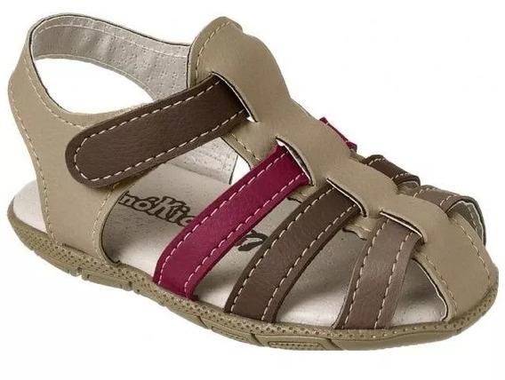Sandália Casual Infantil Masculino Marrom Velcro Lançamento